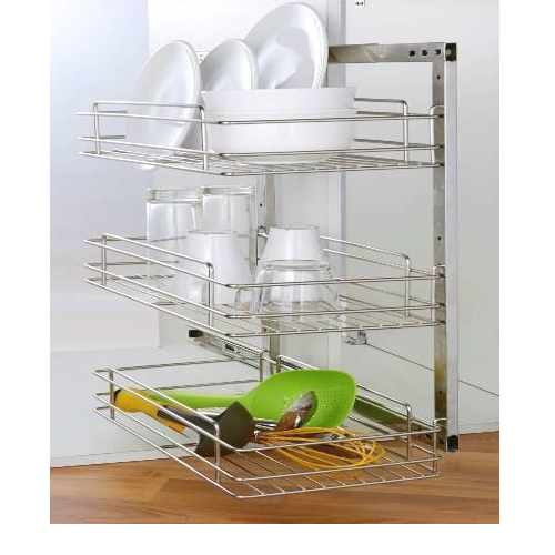 Side Mounted Pull-out GE-008C 300mm 3 Tier Stainless Steel