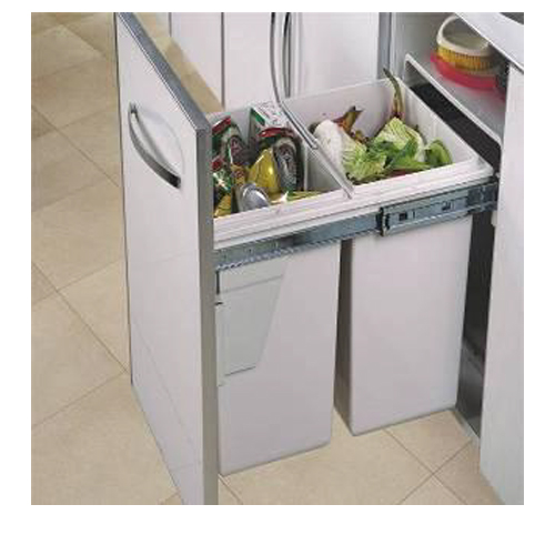 Pull Out Waste Bin GE-403 PVC (Attached Door)